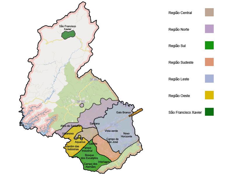 mapa geral das regiões